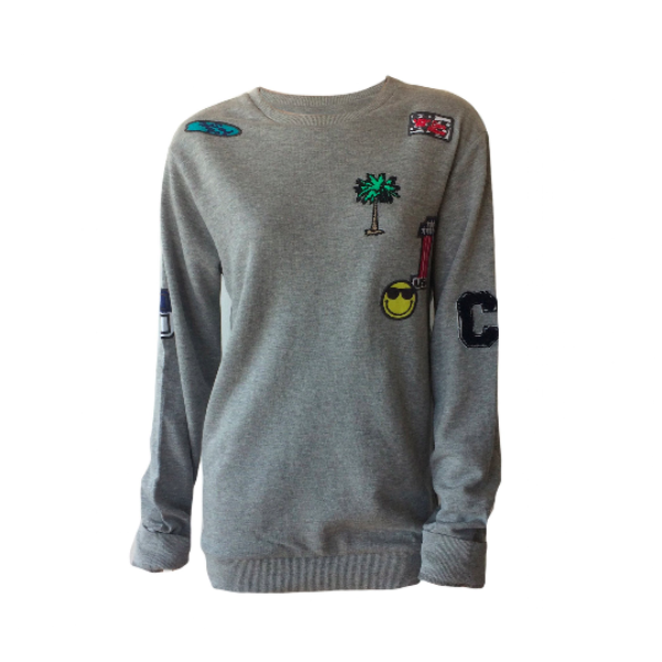 smile sweater, patches sweater, badges sweater, CARS jeans, teen fashion