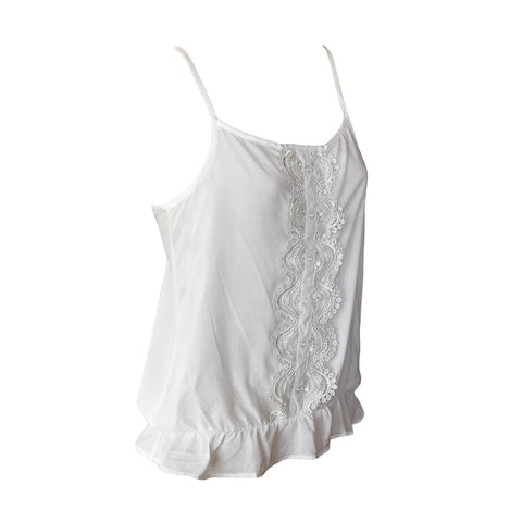 Tropical Top, White Tank Top, White Embroidered Top, Crush Denim, Teen Fashion
