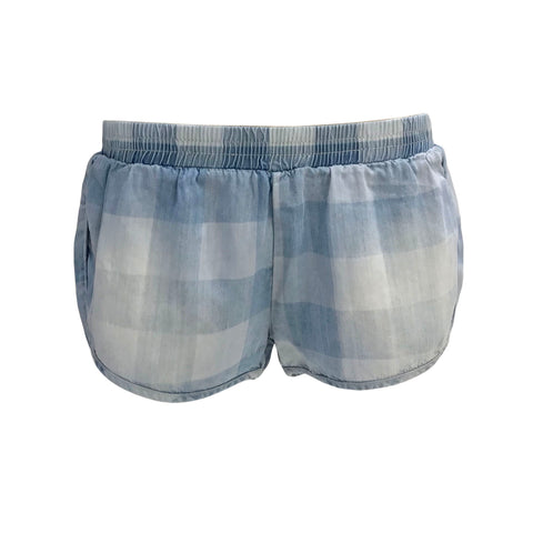Check out these cute Denim Buffalo Checkered Chambray Shorts by Vintage Havana.  Features elasticised waist, dual back patch pockets and , allover checkered print in a soft chambray.