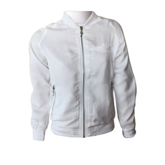 Burny White Summer Jacket, White Silk Jacket, White bomber jacket, sevenoneseven, teen fashion