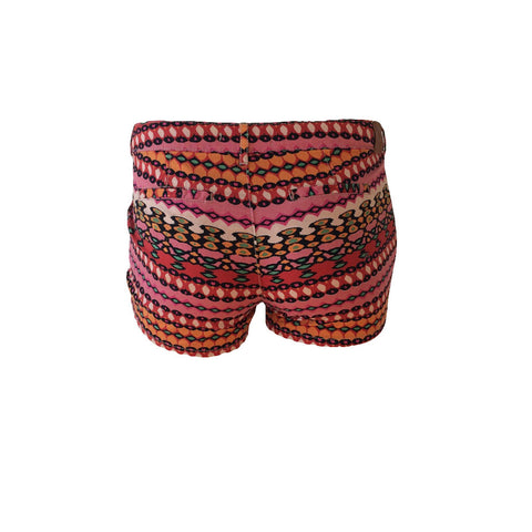 LOVE these red boho mini shorts by Scotch R'belle. Perfect for summer! Boho bright, all they need is a basic white tee and a pair of shoes to match