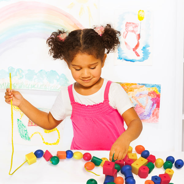 Jumbo Lacing Beads for Toddlers and Kids - Educational Color Sorting and Shape Activity
