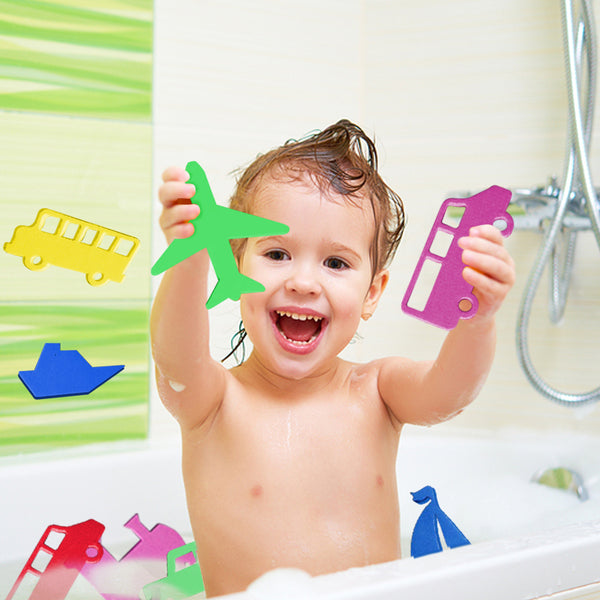 Foam Car, Boats and More Bath Toys and Bath Toy Storage Net Set - 20 Fun Foam Toy Shapes