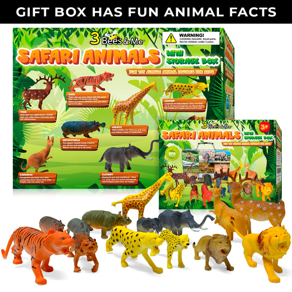 Safari Animals 14 Zoo Animal Toys with Storage Box + Fun Animal Facts