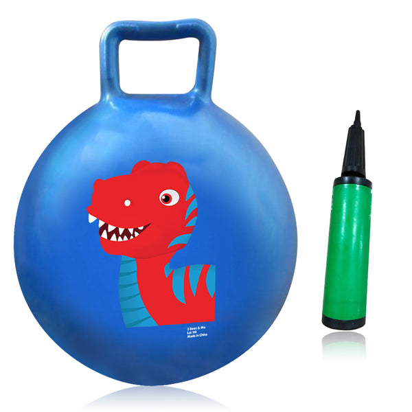 Hopper Ball Hippity Hop Toy with Air Pump - Dinosaur Bouncy Ball with Handle - Indoor Outdoor Bounce Ball Toy