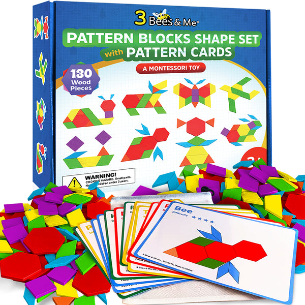 Wooden Pattern Blocks Tanagram Set - Fun Learning Toys for Ages 3 to 9