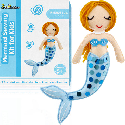 Mermaid Sewing Kit for Kids – Fun Doll Making Gift for Ages 5 to 15