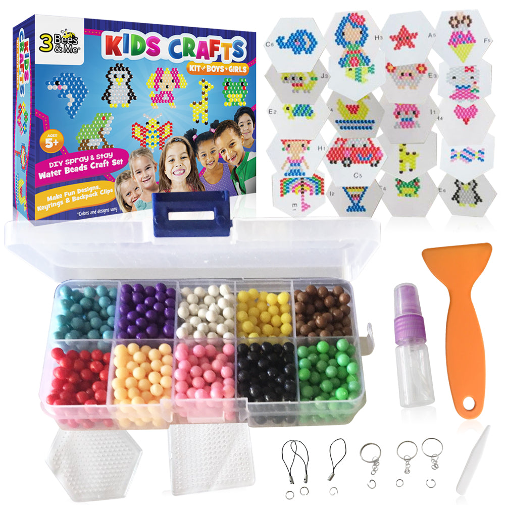 Kids Crafts Kit for Boys & Girls Age 5 to 8 - DIY Spray and Stay Water Beads Craft Set for Designs, Keyrings & Backpack Clips - No Iron or Glue Needed -  20 Designs, various & 2 Pegboards