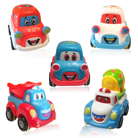 Cars and Trucks Play Set for Toddlers and Kids - 3 Pull Back Car Toys and 2 Toy Trucks for Boys and Girls