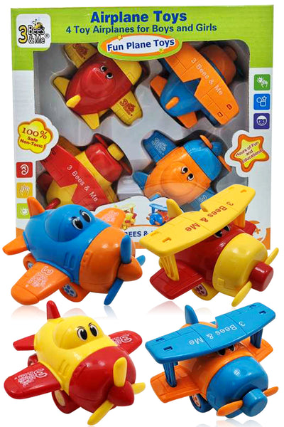 Airplane Toys for Toddlers - 4 Airplanes Toy Travel Set for Boys and Girls