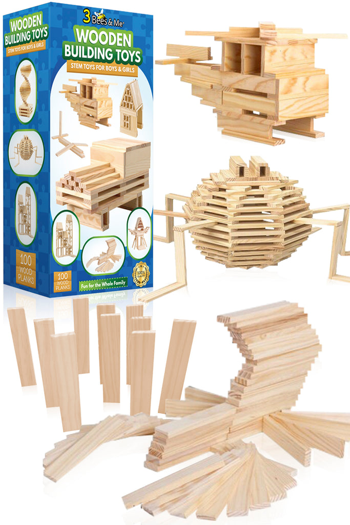 Wooden Building Toys - STEM Toys for Boys and Girls - 100 Wood Plank Pieces