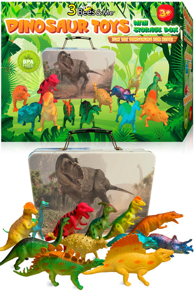 Dinosaur Toys for Boys and Girls with Storage Box - 12 Large 6 Inch Toy Dinosaurs & Case