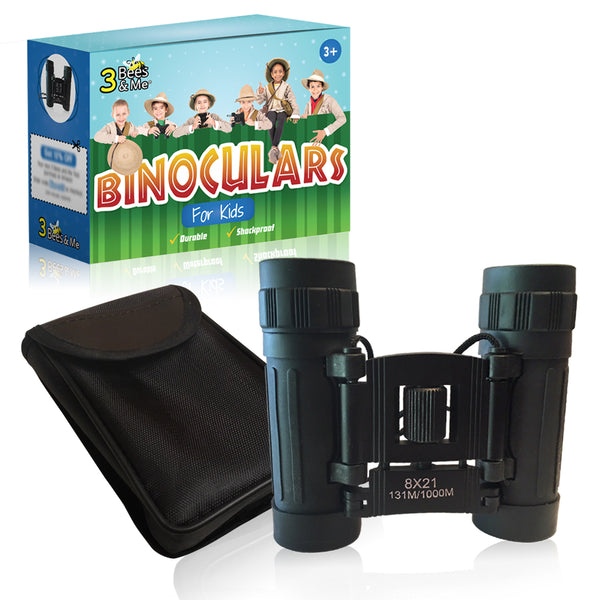 Real 8x21 Kids Binoculars for Boys and Girls Ages 3+ - Black, Compact, Easy to Focus, Durable, & Shockproof, With Strap and Travel Pouch and Belt Clip - Makes a Fun Gift