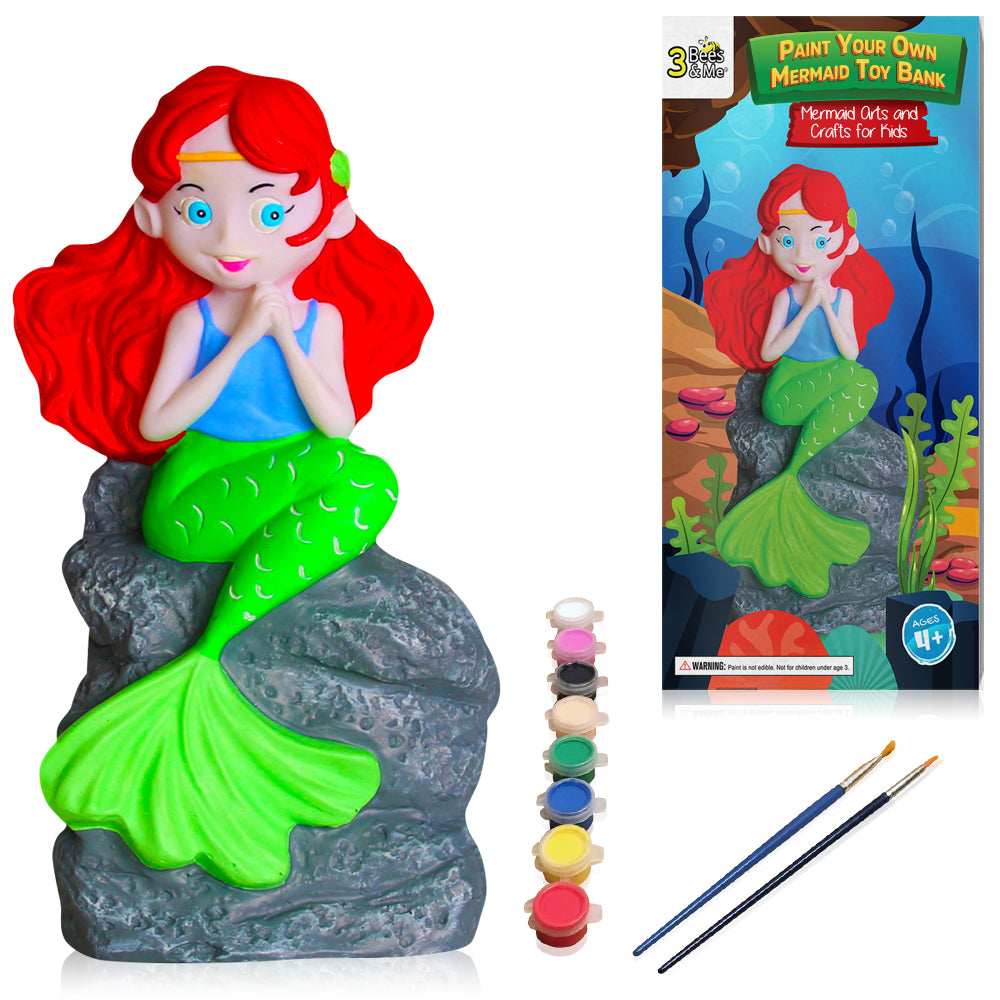 Mermaid Paint Your Own Toy and Coin Bank DIY Kit – Kids Arts & Crafts for Girls & Boys - for Ages 4 to 9 Years Old …