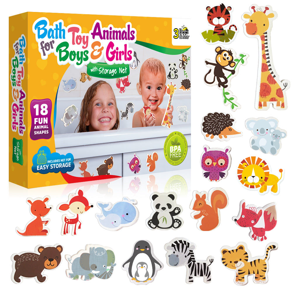 Bath Toy Animals for Boys and Girls – 18 Fun Foam Animals with Bath Toy Storage Bag