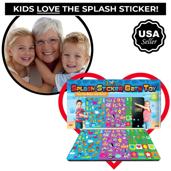 3 Bees & Me Splash Sticker Bath Toy for Toddlers & Kids Boys & Girls - Fun & Unique