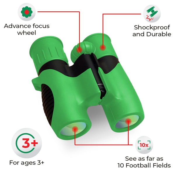 Real Kids Binoculars for Boys and Girls | High Powered 8x Zoom with Easy Adjustable Knob | Won't Break if Dropped | Includes BONUS Magnifying Glass | Binoculars for Kids 3 Years Old and Up