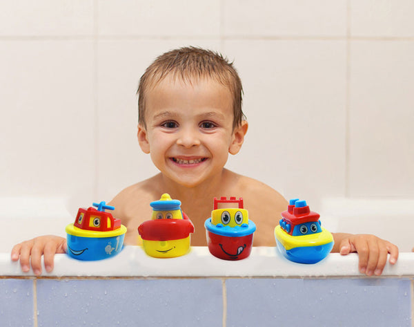 Bath Toy Boats - Fun Bath Toys for Boys and Girls - Magnet Boats for Toddlers and Older Kids - 4 Boat Set