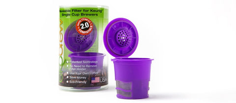 Ekobrew Reusable Filter, Purple (Works with 2.0 and 1.0 Single-Cup Brewers) / K-Cup Equivalent - Coffee Canopy