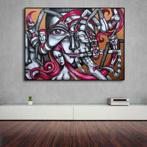 Artifical Heaven Original Surrealism Live Art Painting - Joshua Oliveira
