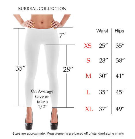 Leggings Size chart by inches