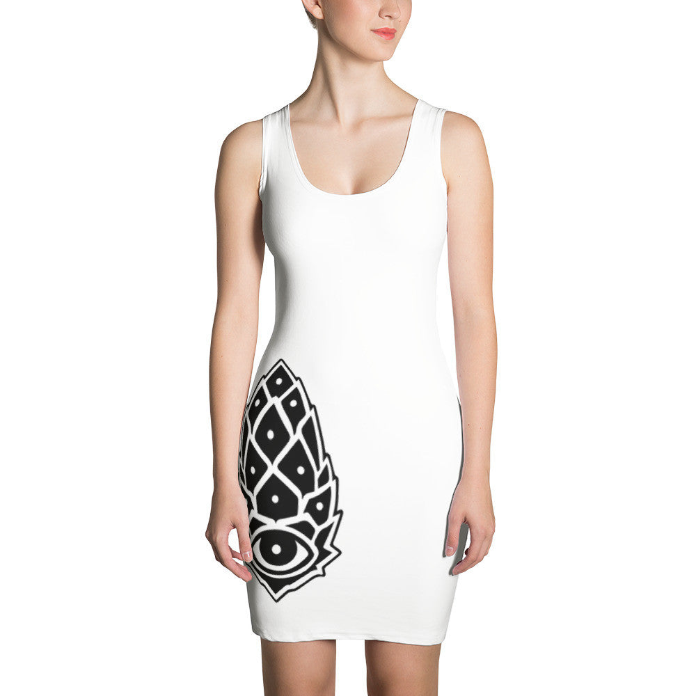 White Pineal Gland Cut & Sew Dress - Joshua Oliveira