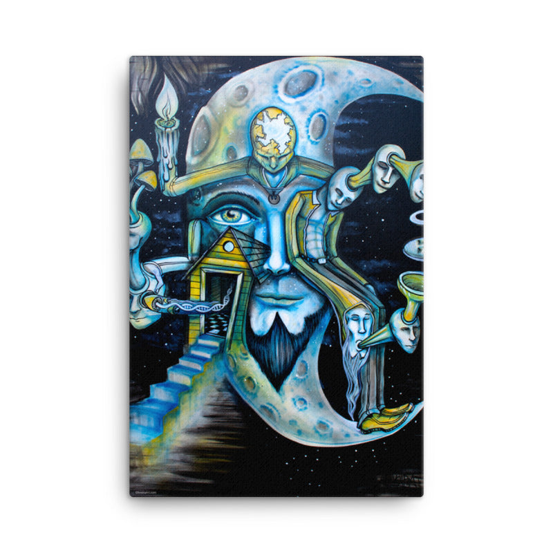 Blue Moon Surreal Art Canvas - Joshua Oliveira