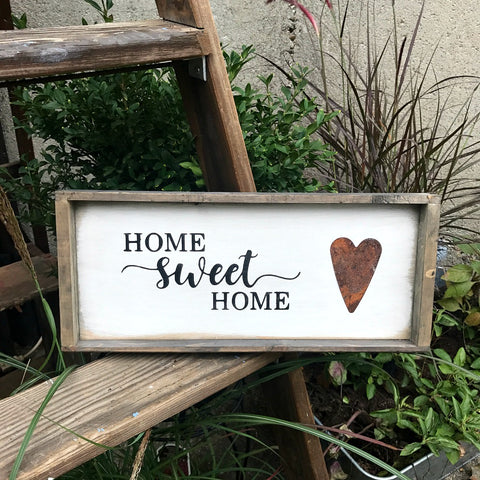 Home Sweet Home, Framed Wooden Sign – Woodticks Wood'n Signs