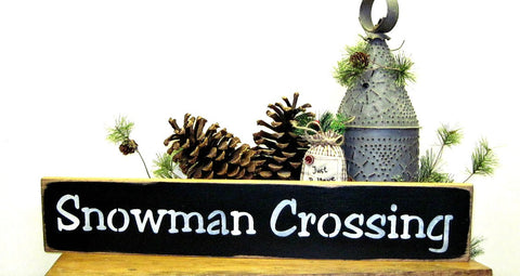 Snowman Crossing, Wooden Signs by ~Woodticks