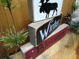 Winter Blessings, Wood Stacking Signs