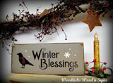 Winter Blessings Wooden Sign