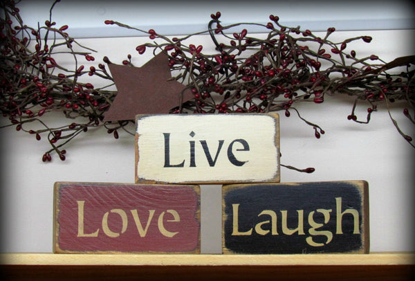 Live Love Laugh Set Of 3 Wooden Signs Shelf Sitters
