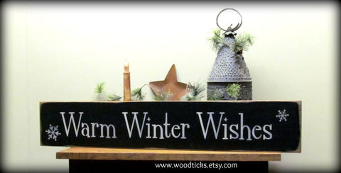 Winter wood sign, Warm Winter Wishes