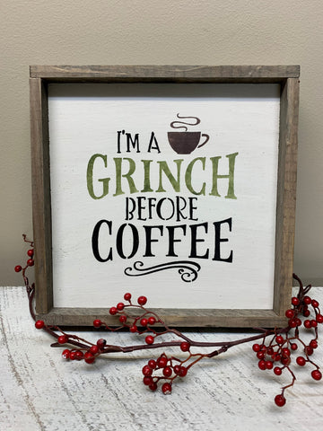 I'm A Grinch Before Coffee, Christmas Coffee Bar Sign