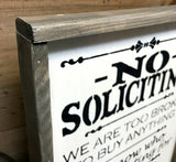 Rustic Framed Sign, No Soliciting