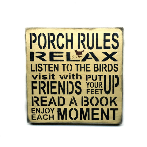 Porch Rules Wooden Sign, Front Porch Decor – Woodticks