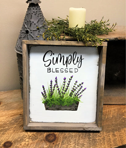 Simply Blessed, wooden framed sign, Gift For mom