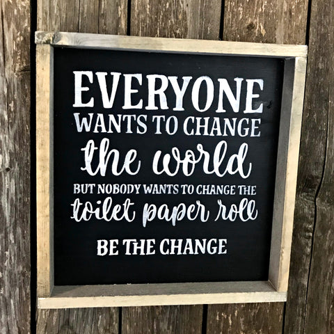bathroom decor, toilet paper quote