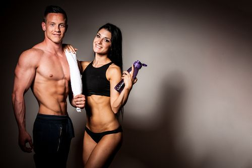 fitness couple with abs