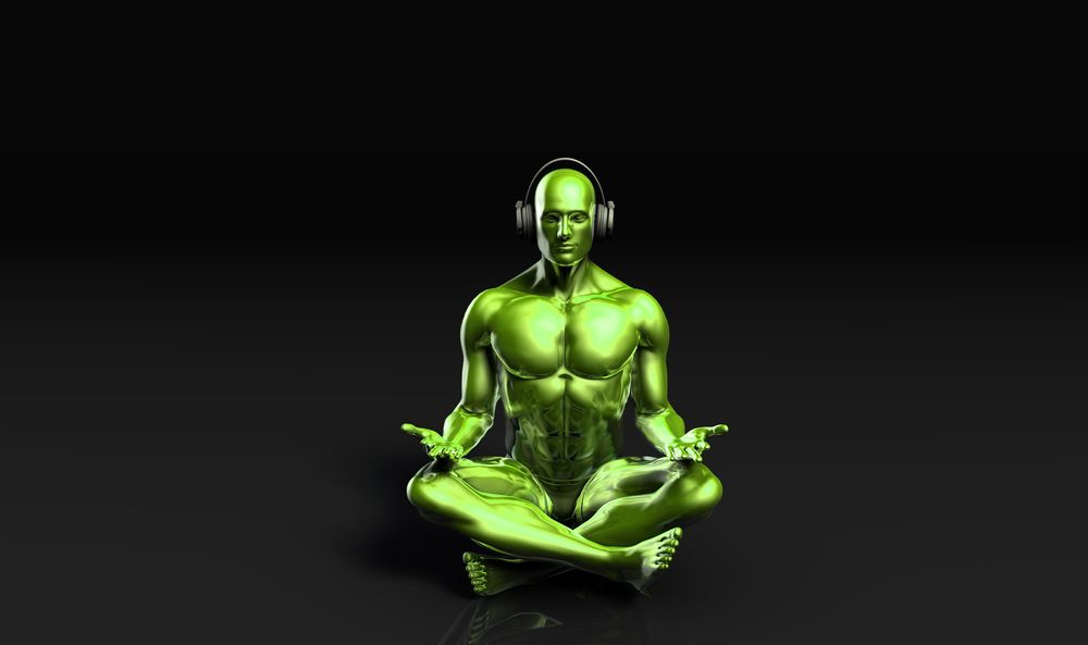 green figure meditating with legs crossed