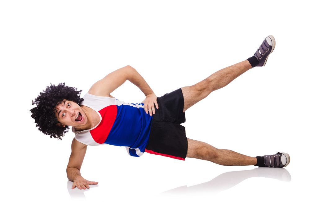 man in wig doing exercise