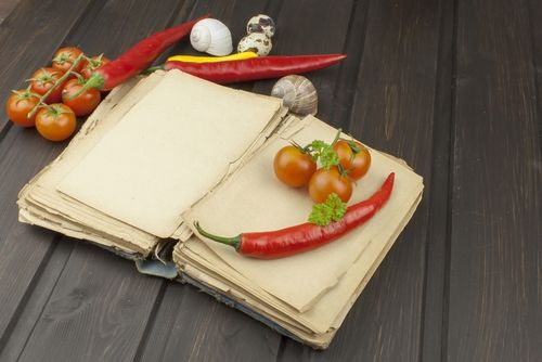 recipe book with food