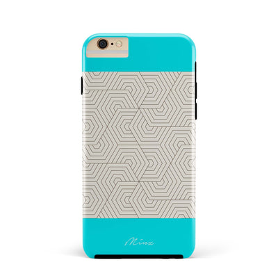Hexagon Maze Turquoise - iPhone Case - Minz - 1