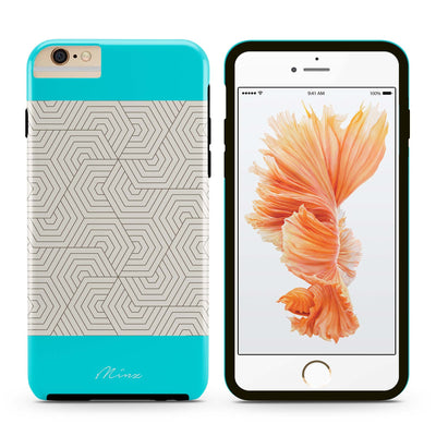 Hexagon Maze Turquoise - iPhone Case - Minz - 4