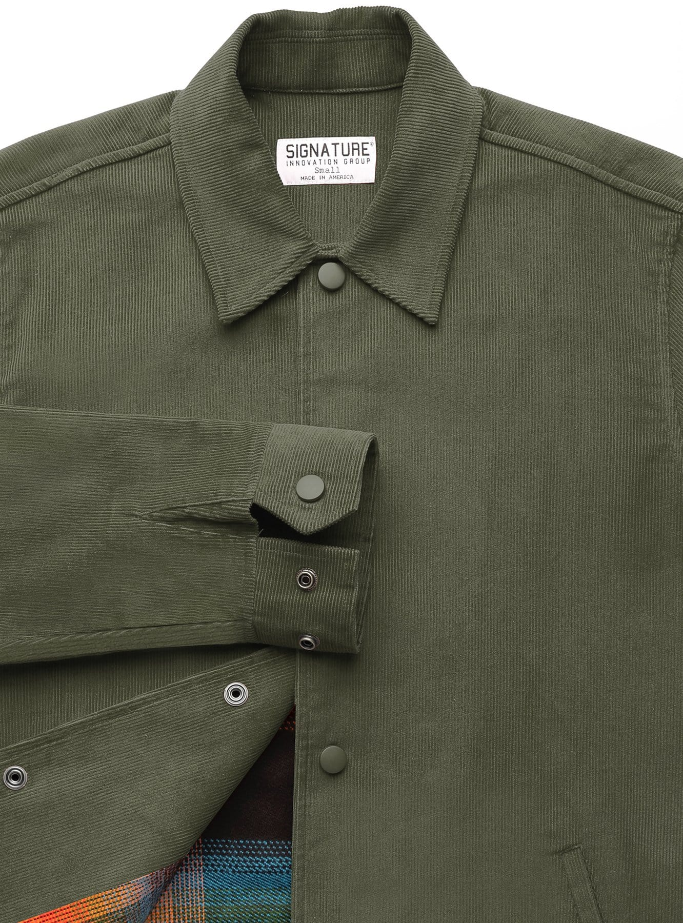 Corduroy Jacket in Olive with Liner