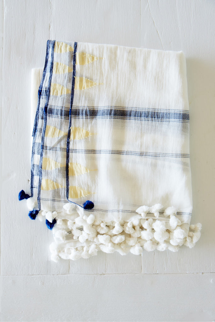 Double Temple Motif Jamdani Shawl with Pom Poms