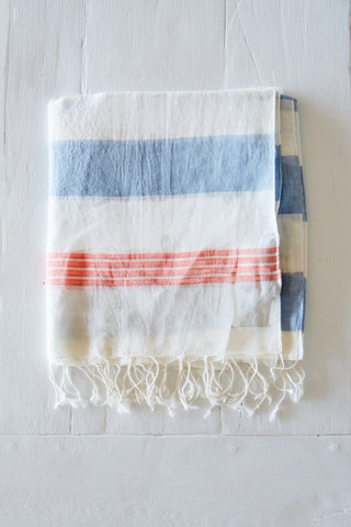 Blue and White Striped Scarf with Hand-Tied Fringe