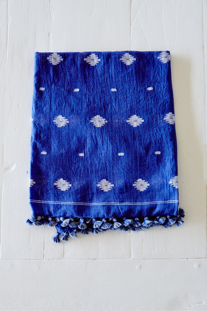 Cotton Jamdani Scarf with Pom Poms