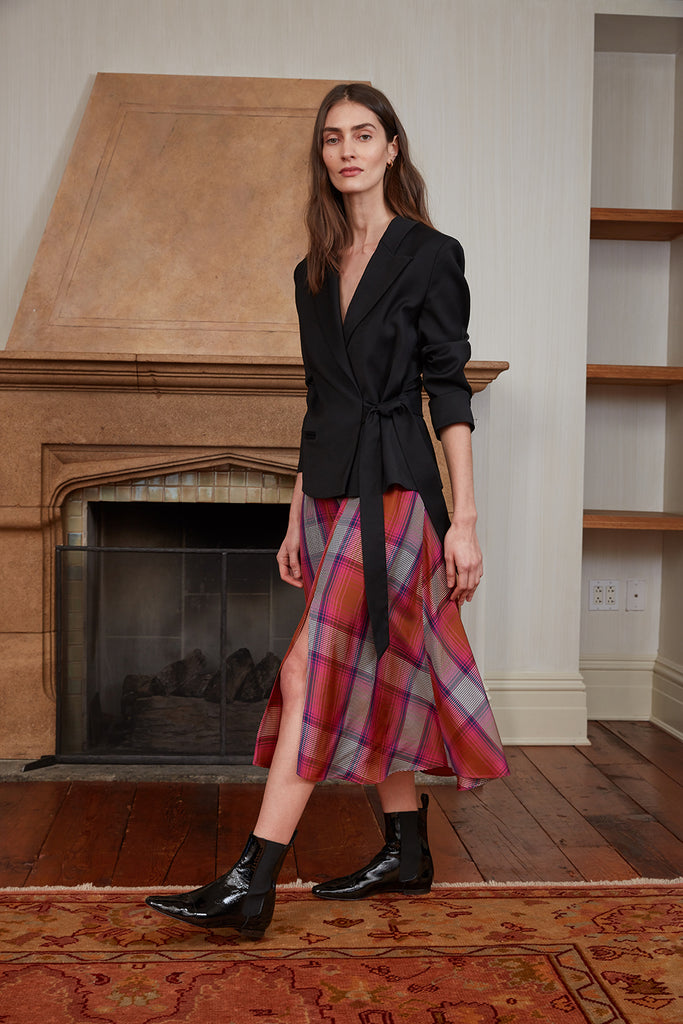 Tuxedo Side-Tie Jacket and Plaid Circle Skirt