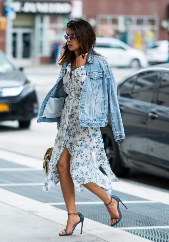 Priyanka Chopra in Floral Signature Blouse Dress while in NYC